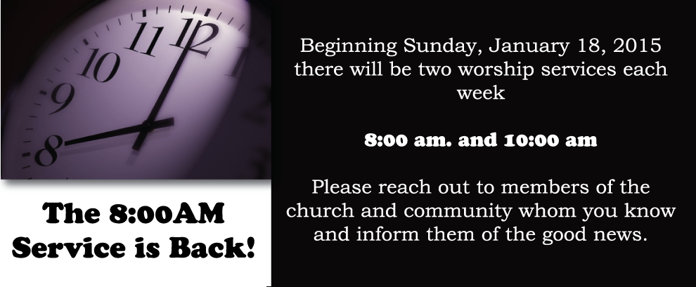 Join Us for 8AM Worship Service