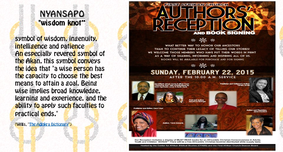 Authors Reception is here! February 22nd after 10am service.