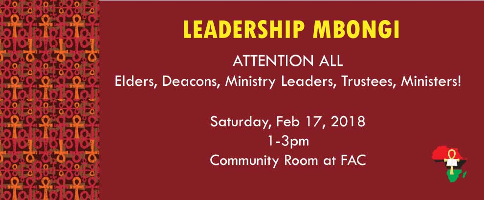 Leadership Mbongi: Saturday, Feb 17th